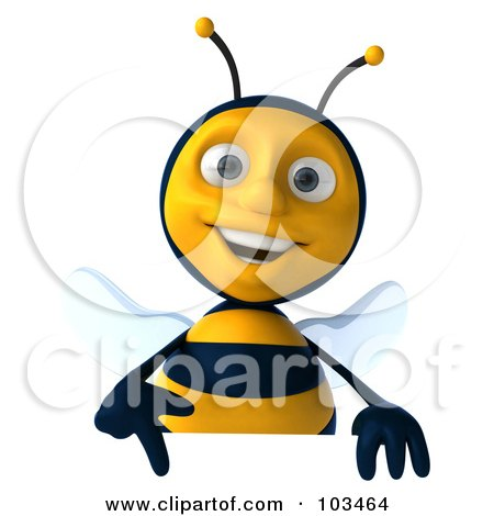 Royalty-Free (RF) Clipart Illustration of a 3d Bee Character Pointing Down At A Sign by Julos