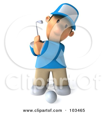 Royalty-Free (RF) Clipart Illustration of a 3d Golfer Toon Guy Facing Front And Swinging A Club by Julos