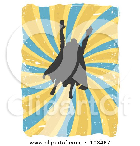 Royalty-Free (RF) Clipart Illustration of a Silhouetted Flying Super Hero Over Grungy Blue And Yellow Swirls by mheld