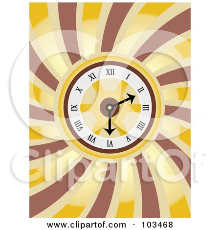 Royalty-Free (RF) Clipart Illustration of a Round Clock Over Swirls by mheld