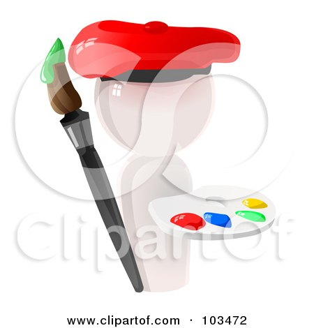 Royalty-Free (RF) Clipart Illustration of a 3d White Artist Icon With A Paint Palette And Brush by Leo Blanchette