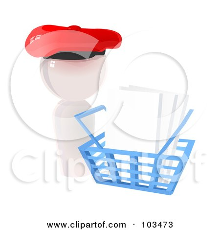 Royalty-Free (RF) Clipart Illustration of a 3d White Artist Icon Blank Canvases In A Shopping Basket by Leo Blanchette