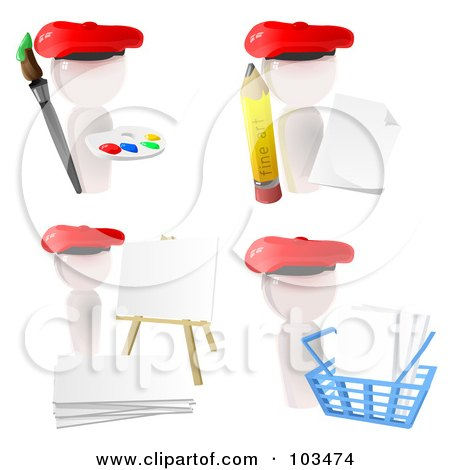 Royalty-Free (RF) Clipart Illustration of a Digital Collage Of 3d White Artist Icons With Paint, A Pencil, Canvas And Shopping Basket by Leo Blanchette
