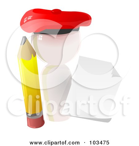 Royalty-Free (RF) Clipart Illustration of a 3d White Artist Icon With A Pencil And Blank Paper by Leo Blanchette