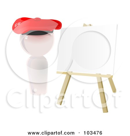 Royalty-Free (RF) Clipart Illustration of a 3d White Artist Icon With A Blank Canvas On An Easel by Leo Blanchette