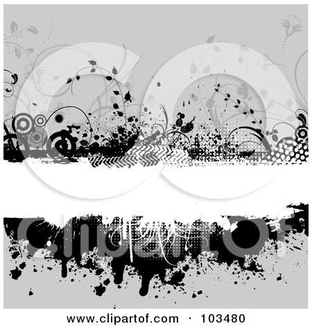 Royalty-Free (RF) Clipart Illustration of a Grungy White Text Bar Bordered With Black Circles, Vines, Halftone And Splatters Over Gray by KJ Pargeter