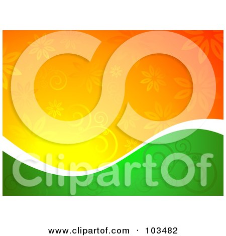 Royalty-Free (RF) Clipart Illustration of a Half Green, Half Orange Floral Background Divided By White by KJ Pargeter