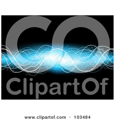 Royalty-Free (RF) Clipart Illustration of a Glowing Electric Blue Wave Over Black by KJ Pargeter