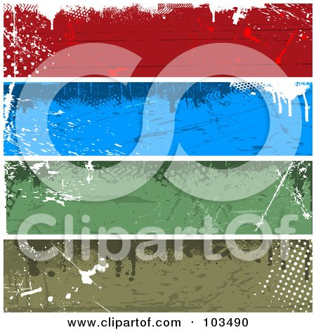 Royalty-Free (RF) Clipart Illustration of a Digital Collage Of Four Colorful Horizontal Grungy Website Banners by KJ Pargeter