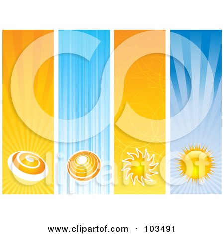 Royalty-Free (RF) Clipart Illustration of a Digital Collage Of Four Vertical Sun Website Banners by KJ Pargeter