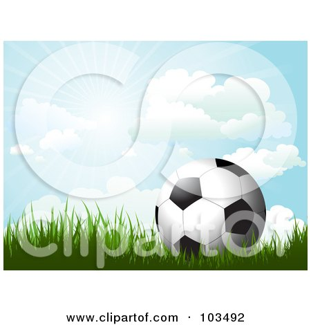 Royalty-Free (RF) Clipart Illustration of a Soccer Ball On Grass Under A Sunny Blue Sky by KJ Pargeter