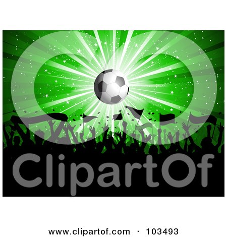 Royalty-Free (RF) Clipart Illustration of a Soccer Fan Crowd Waving Flags Under A Shining Soccer Ball Over Green by KJ Pargeter