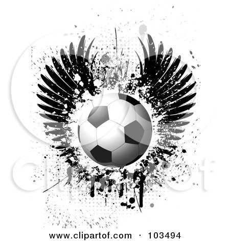 Royalty-Free (RF) Clipart Illustration of a Shiny Soccer Ball Over Grungy Black Wings, Splatters, Drips And Halftone On White by KJ Pargeter