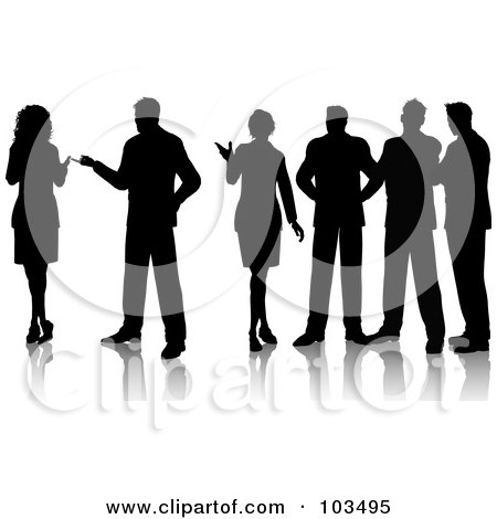 Royalty-Free (RF) Clipart Illustration of a Group Of Professionals Standing And Talking by KJ Pargeter