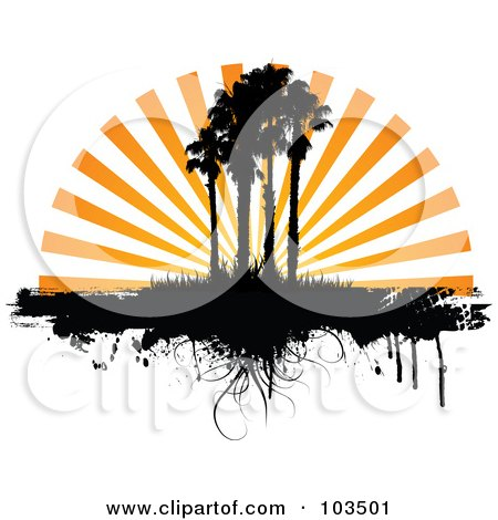 Royalty-Free (RF) Clipart Illustration of Orange Sunset Rays Silhouetting Palm Trees And Grass, With Dripping Grunge by KJ Pargeter