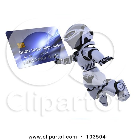 Royalty-Free (RF) Clipart Illustration of a 3d Silver Robot Leaping With A Credit Card by KJ Pargeter