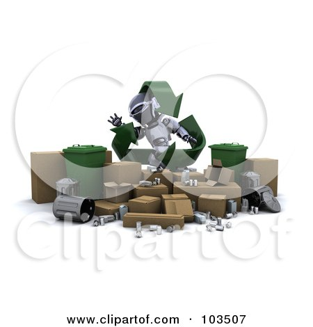 Royalty-Free (RF) Clipart Illustration of a 3d Silver Robot With Recycle Arrows, Standing Behind Trash Bins And Cardboard Boxes by KJ Pargeter