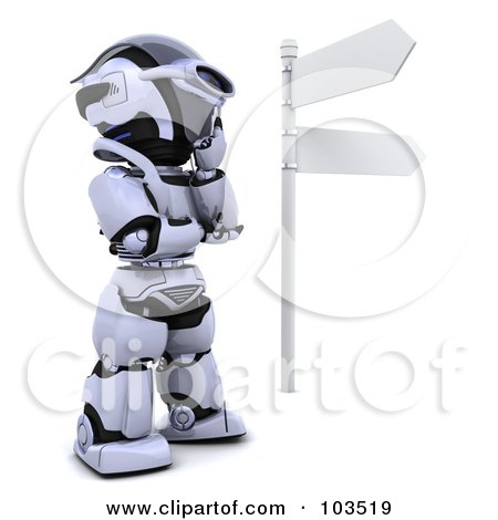 Royalty-Free (RF) Clipart Illustration of a 3d Silver Robot Thinking At A Crossroads by KJ Pargeter
