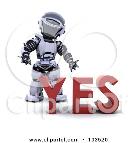 Royalty-Free (RF) Clipart Illustration of a 3d Silver Robot Standing Behind YES by KJ Pargeter