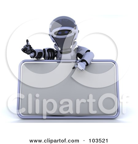 Royalty-Free (RF) Clipart Illustration of a 3d Silver Robot Pointing To And Presenting A Blank Sign by KJ Pargeter