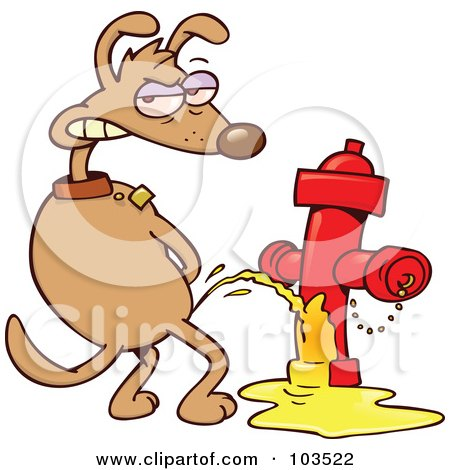 Royalty-Free (RF) Clipart Illustration of a Mad Dog Looking Back And Urinating On A Red Fire Hydrant by gnurf