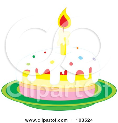 Royalty-Free (RF) Clipart Illustration of a Lit Candle On A Slice Of Birthday Cake On A Green Plate by Alex Bannykh