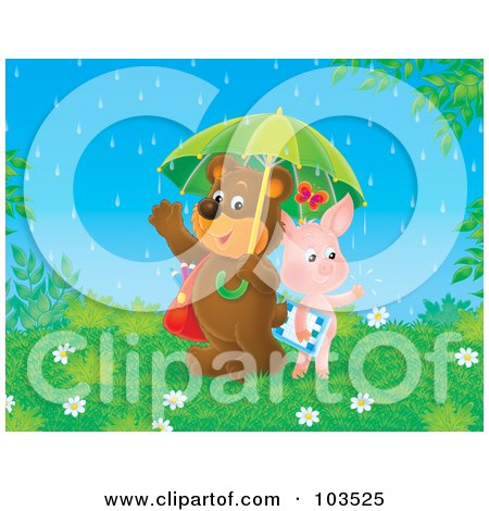 Royalty-Free (RF) Clipart Illustration of a Friendly Pig And Bear Students Sharing An Umbrella On A Rainy Spring Day by Alex Bannykh