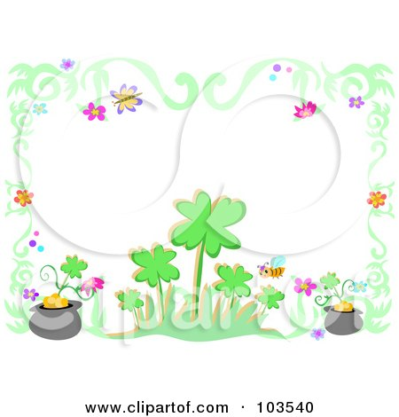 Royalty-Free (RF) Clipart Illustration of a Shamrock, Flower, Gold And Insect Border by bpearth