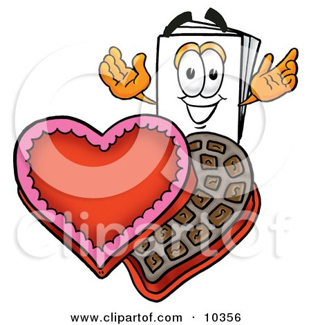 Clipart Picture of a Paper Mascot Cartoon Character With an Open Box of Valentines Day Chocolate Candies by Toons4Biz