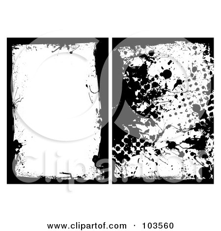 Royalty-Free (RF) Clipart Illustration of a Digital Collage Of Two Black Grungy Splatter Borders by michaeltravers