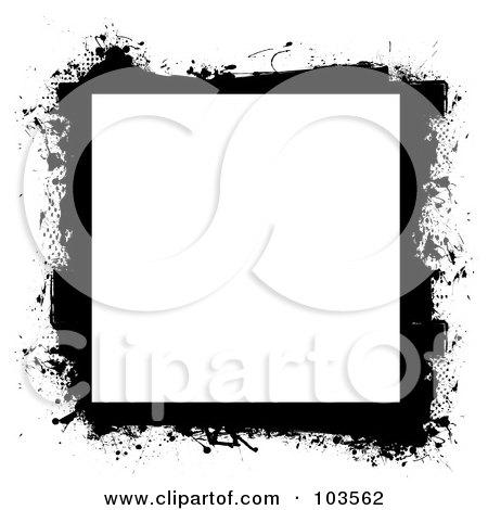 Royalty-Free (RF) Clipart Illustration of a Grungy Black Splatter Frame - 1 by michaeltravers