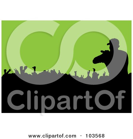 Royalty-Free (RF) Clipart Illustration of a Male Singer Silhouetted Over A Crowd On Green by michaeltravers