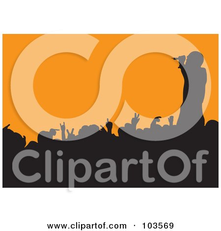 Royalty-Free (RF) Clipart Illustration of a Male Singer Silhouetted Over A Crowd On Orange by michaeltravers