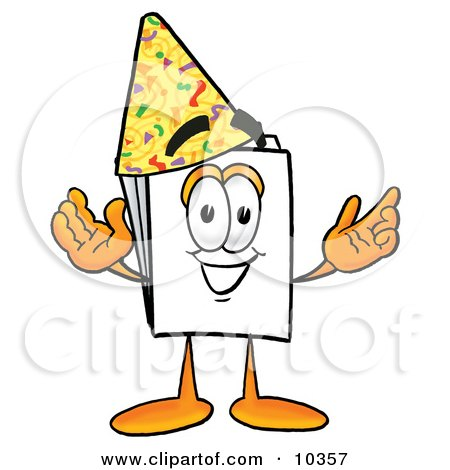 Clipart Picture of a Paper Mascot Cartoon Character Wearing a Birthday Party Hat by Toons4Biz