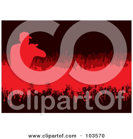 Royalty-Free (RF) Clipart Illustration of a Grungy Red Singer And Crowd On Black by michaeltravers