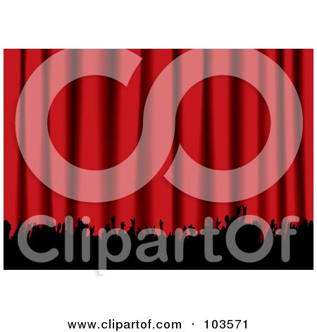 Royalty-Free (RF) Clipart Illustration of a Red Curtain And Silhouetted Hands Of An Audience by michaeltravers