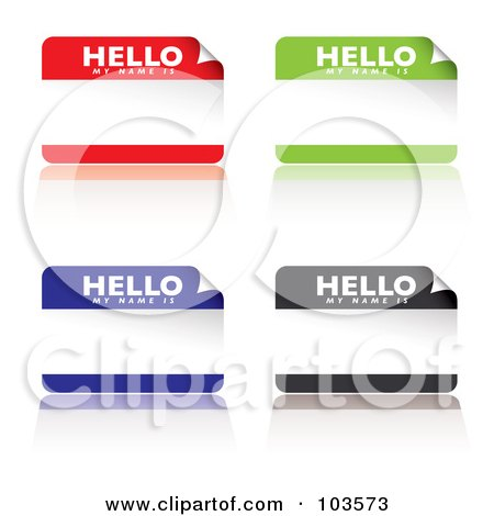 Royalty-Free (RF) Clipart Illustration of a Digital Collage Of Red, Green, Blue And Black Name Tag Stickers by michaeltravers