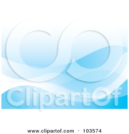 Royalty-Free (RF) Clipart Illustration of a Smooth Blue Ocean Wave Background by michaeltravers