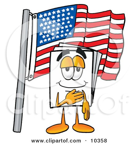 Clipart Picture of a Paper Mascot Cartoon Character Pledging Allegiance to an American Flag by Toons4Biz