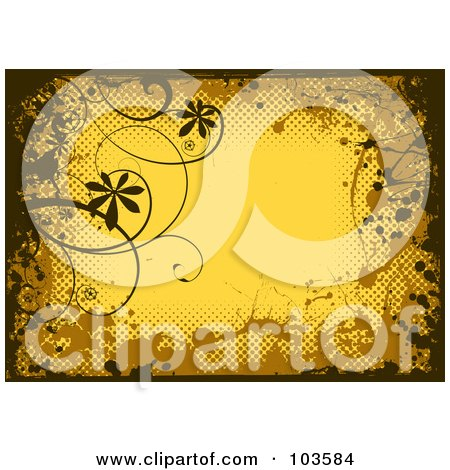 Royalty-Free (RF) Clipart Illustration of a Grungy Yellow Background Bordered In Black And Brown Grungy Splatters, Halftone And Vines by michaeltravers