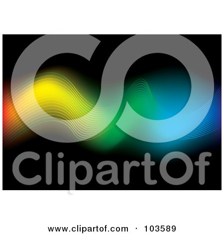Royalty-Free (RF) Clipart Illustration of a Flowing Rainbow Wire Stream Over Black by michaeltravers