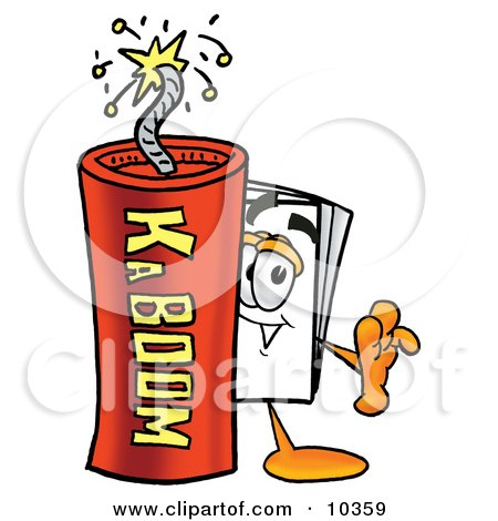Clipart Picture of a Paper Mascot Cartoon Character Standing With a Lit Stick of Dynamite by Toons4Biz