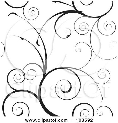Royalty-Free (RF) Clipart Illustration of a Black Swirly Vine Background Pattern On White by michaeltravers