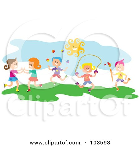 Royalty-Free (RF) Clipart Illustration of Square Head Children Playing Outside by Prawny