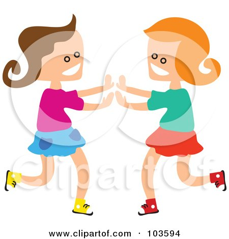 Royalty-Free (RF) Clipart Illustration of Square Head Girls Playing Patty Cake by Prawny