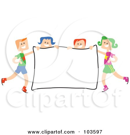 Royalty-Free (RF) Clipart Illustration of Square Head Children Holding a Sign by Prawny