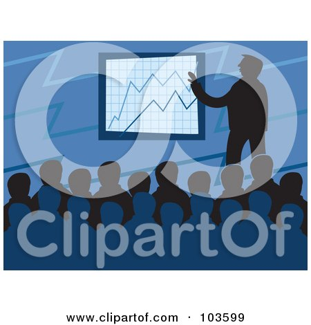 Royalty-Free (RF) Clipart Illustration of a Silhouetted Board Meeting Over Blue by Prawny