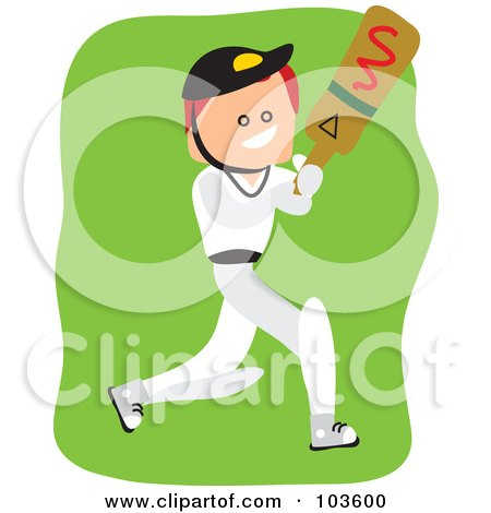 Royalty-Free (RF) Clipart Illustration of a Square Head Boy Playing Cricket by Prawny