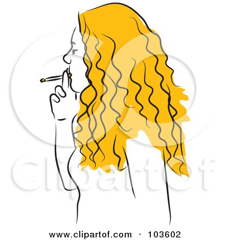 Royalty-Free (RF) Clipart Illustration of a Blond Woman Smoking by Prawny