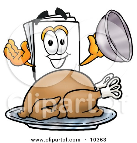 Clipart Picture of a Paper Mascot Cartoon Character Serving a Thanksgiving Turkey on a Platter by Toons4Biz